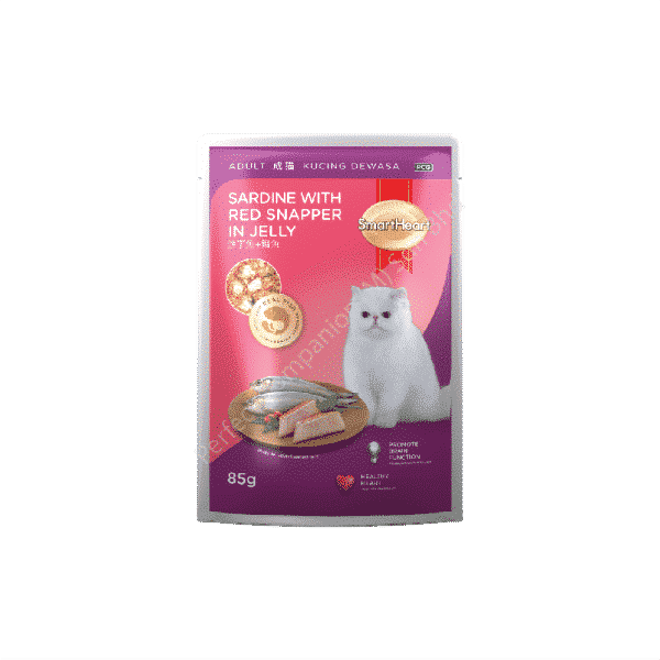 SmartHeart Cat Pouch Sardine With Red Snapper In Jelly