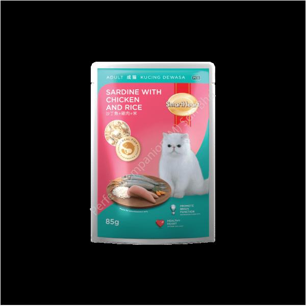 SmartHeart Cat Pouch Sardine With Chicken & Rice