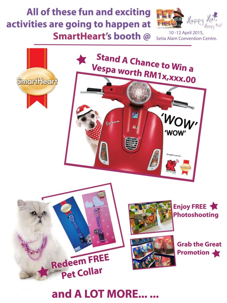 Join SmartHeart at Pet Fiesta on 10-12 April 2015!